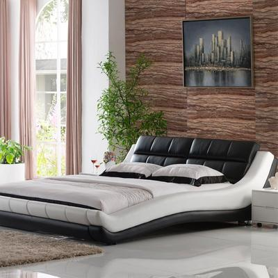 Carolean European Style Bedroom Furniture King Size Leather Bed C579
