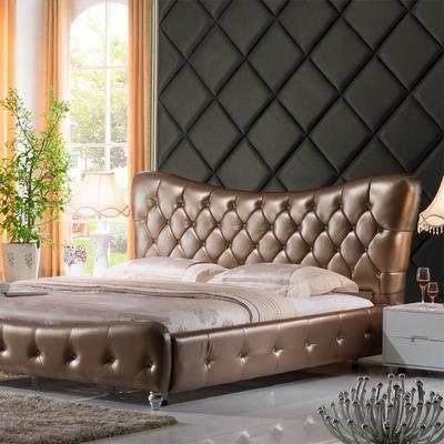 Carolean Luxury Crystal Bedroom Furniture Design King Size Upholstered Leather Bed C337